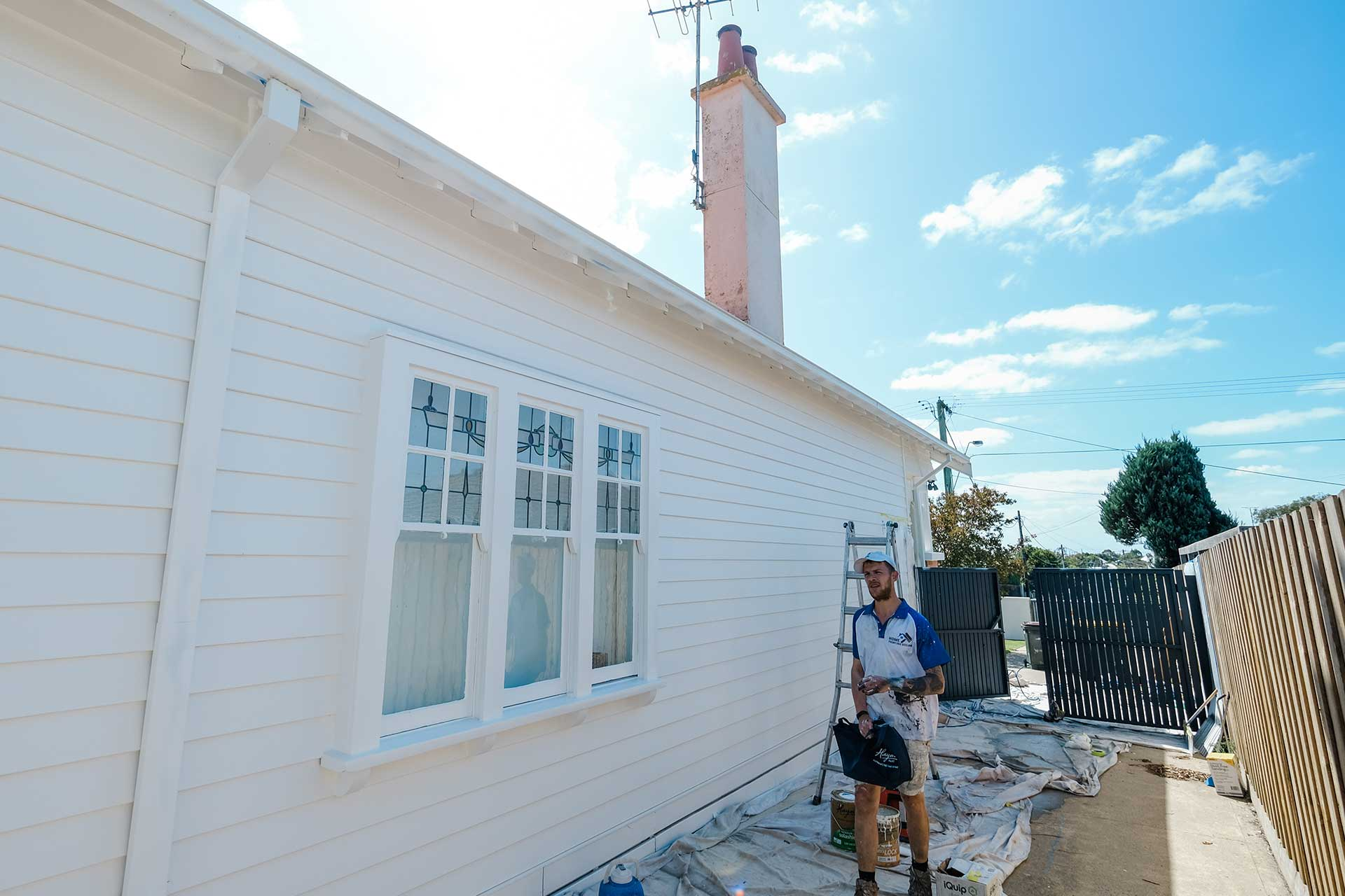 Weatherboard white painting